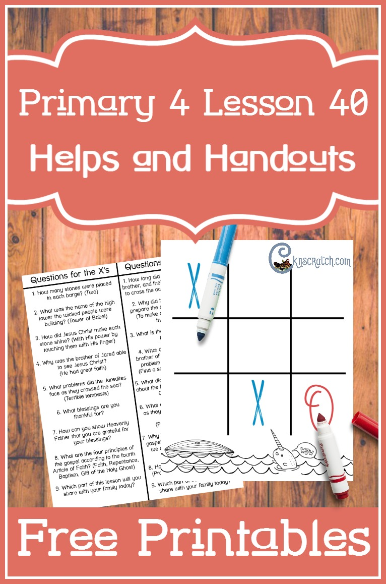 Love this Jaredites tic-tac-toe board for teaching Primary 4 Lesson 40: The Jaredites are led to the promised land