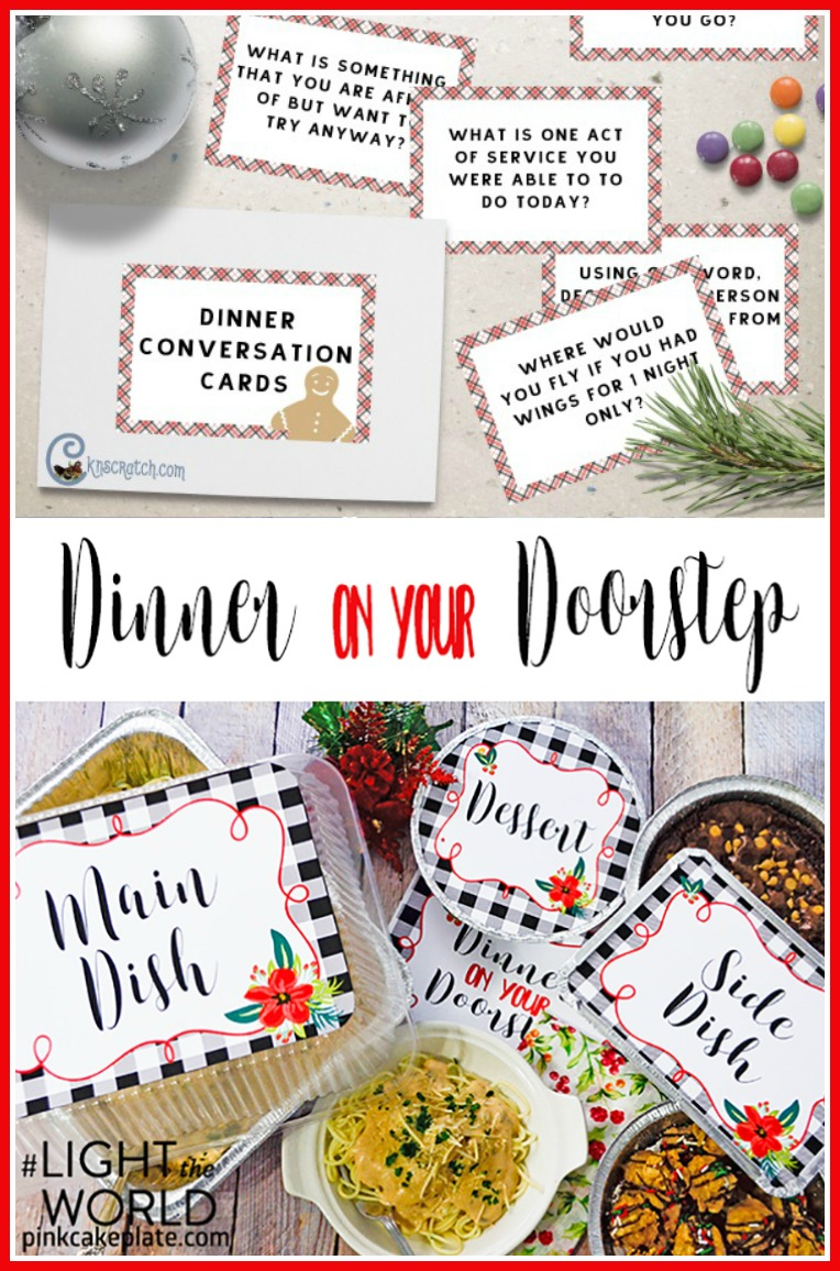 Feed the hungry with this adorable Dinner on the Doorstep kit PLUS free Dinner Conversation cards! #LIGHTtheWORLD