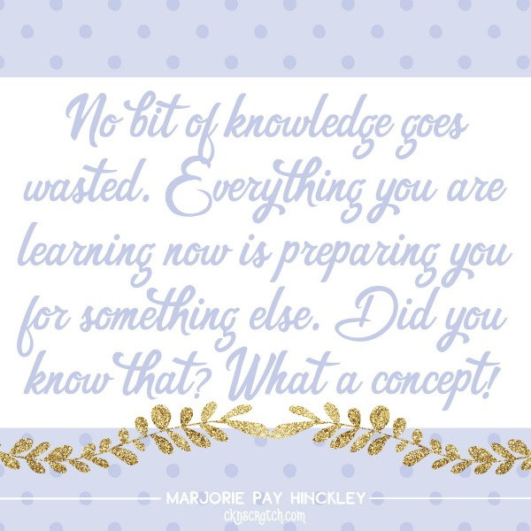 No bit of knowledge goes wasted- love this quote from Sister Hinckley!