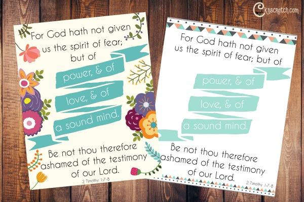 Great scripture print 2 Timothy 1:7-8