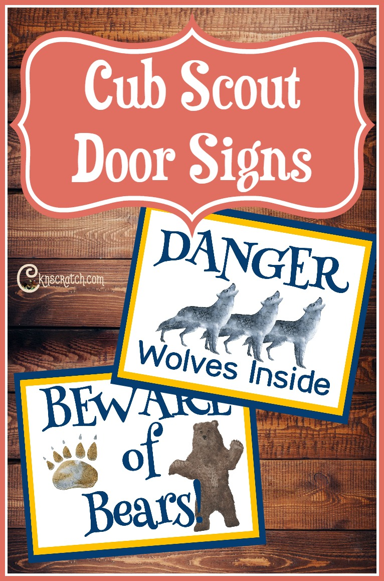 These are great- free cub scout signs for Wolf, Bear, and Webelos