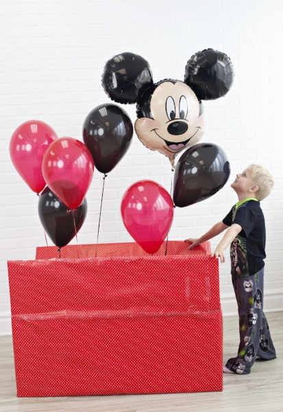 Box of balloons vacation reveal! I like how you can adapt this to any location!