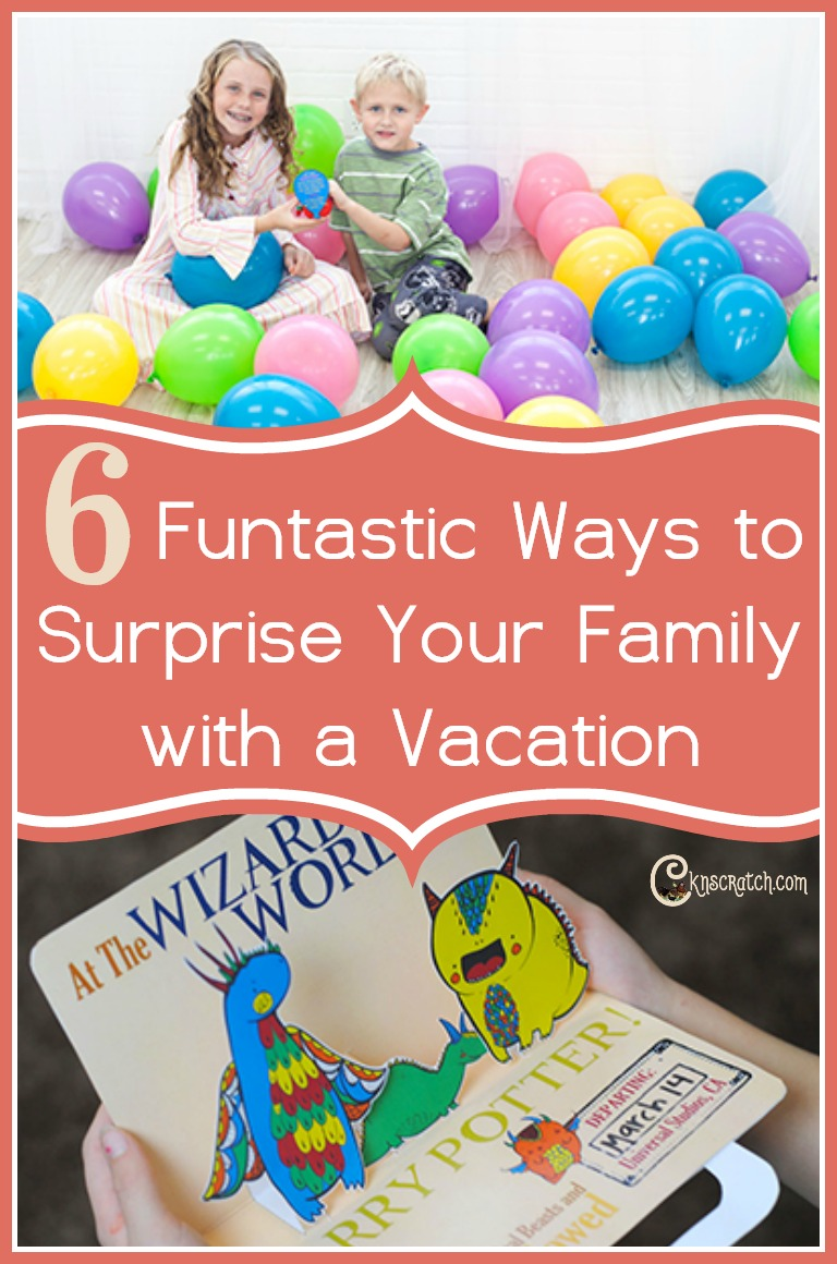 These are great ideas for family vacation reveals! I really like the mystery words and pop up card ideas.