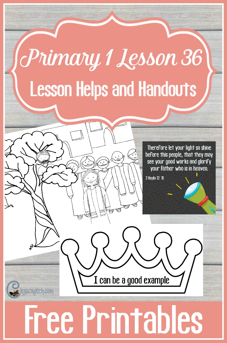 Great free handouts for teaching LDS Primary 1 Lesson 36: I Can Be a Good Example