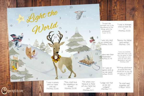 I love this cute Christmas advent calendar for #LIGHTtheWORLD #LDSprimary #LDS