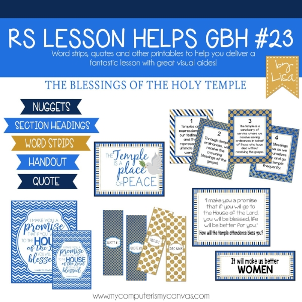 Great handout packet for teaching Gordon B. Hinckley Chapter 23: The Blessings of the Holy Temple