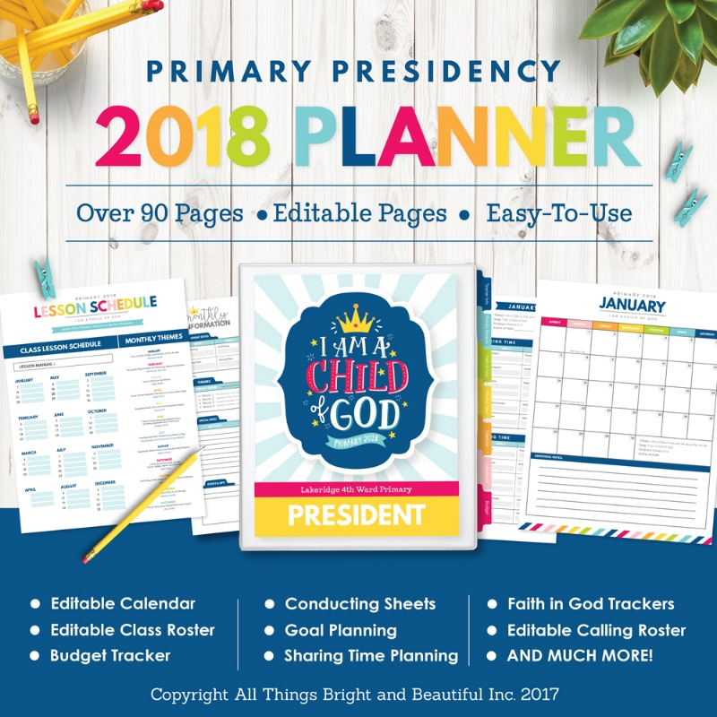Wow! This 2018 LDS Primary Presidency Planner has everything! #LDSprimary #IamachildofGod