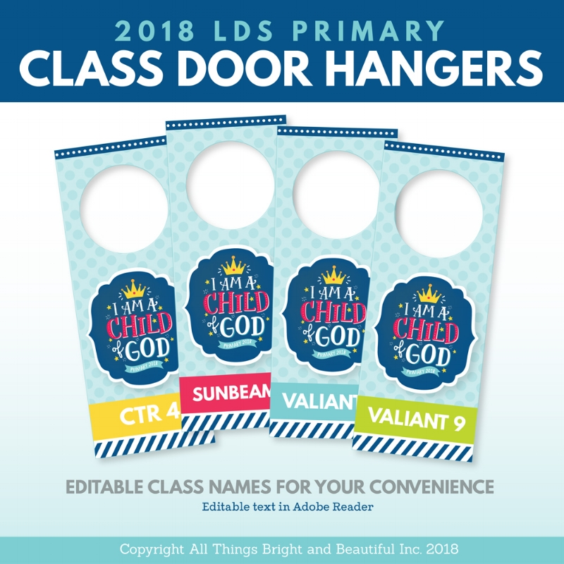 LDS Primary door hangers with I Am a Child of God theme #Mormon