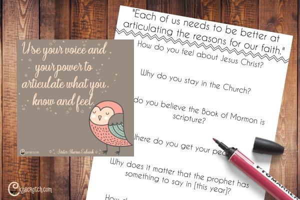 "Free handouts to help teach Sister Sharon Eubank's talk, ""Turn On Your Light"""