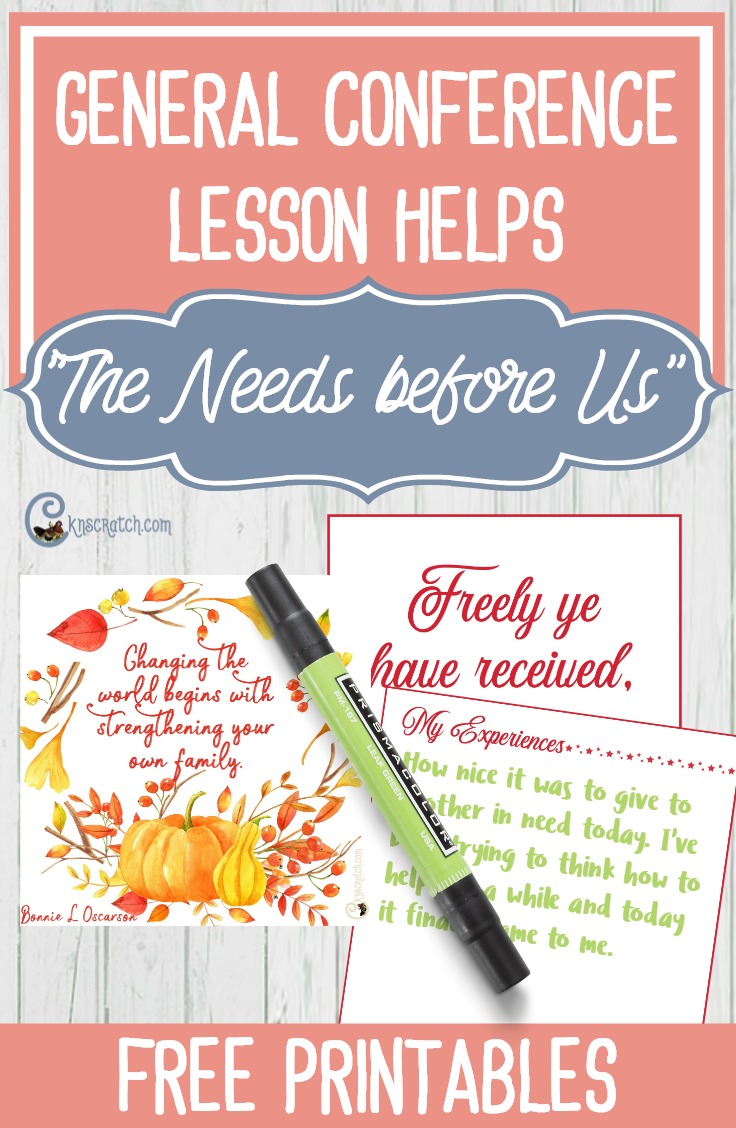 """Great ideas for teaching Sister Bonnie L. Oscarson's talk, """"The Needs before Us"""" (October 2017 General Conference) #LDS"""