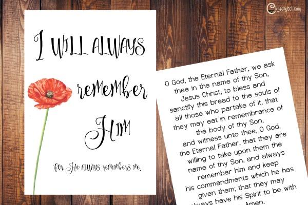 Sacrament prayers printable to help teach about the Sabbath and the Sacrament
