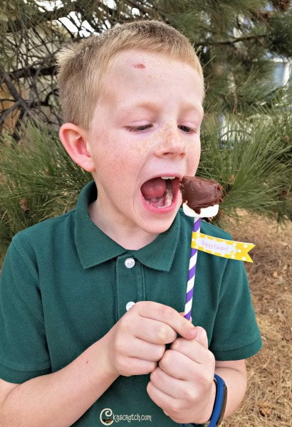 On a stick day- too funny. Great excuse to use these free printable Happy Easter labels though!