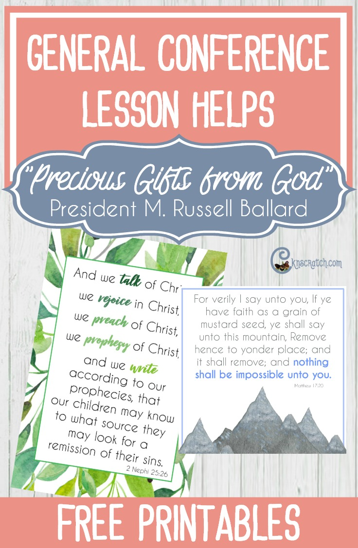 """Free printables and great ideas to help lead a discussion about President M. Russell Ballard's talk """"Precious Gifts from God"""""""