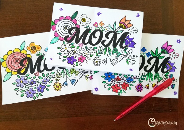 Free Mom card for Mother's Day- love that you can color it!