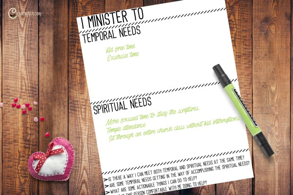 Great idea to sit down and really think about the needs of those we minister to and how we can help them #Ministering #LDS #Mormon