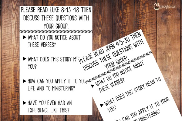 Discussion cards to help discussion ministering to the one