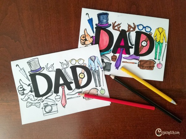 Free color your own Dad cards for Father's Day