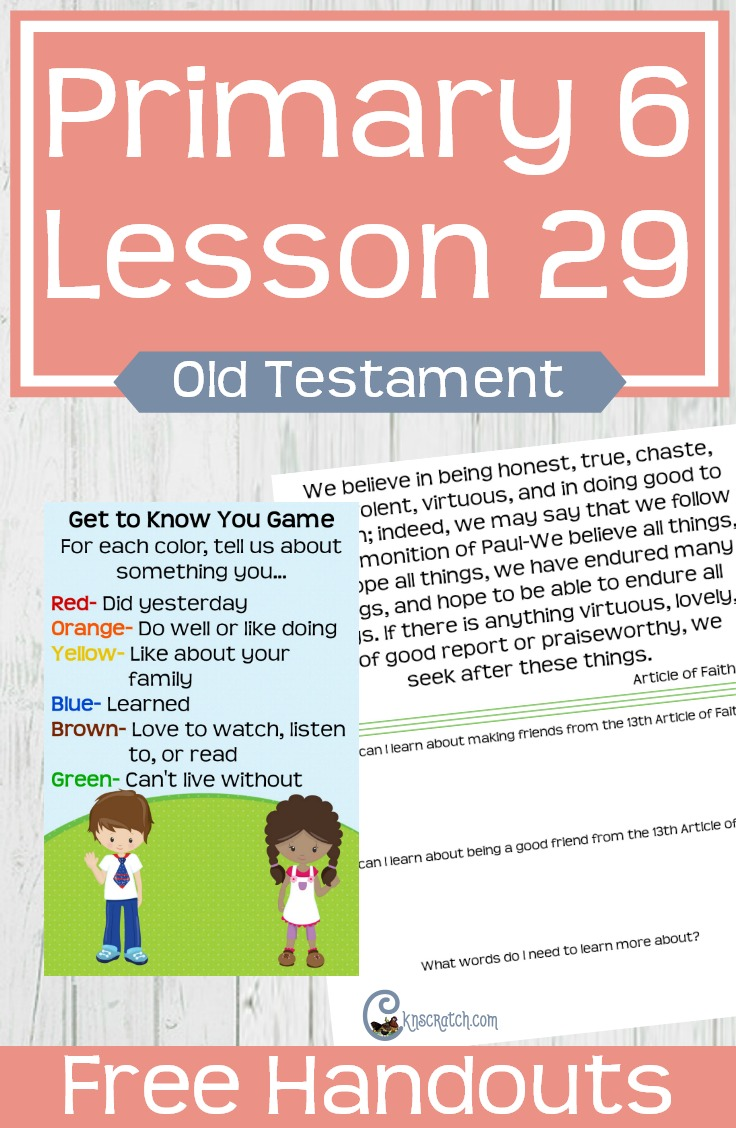 Fun free handouts for teaching LDS Primary 6 Lesson 29: David and Jonathan #LDS #Mormon #LDSPrimary