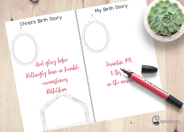Birth story printable to learn more about Jesus Christ and your own birth story