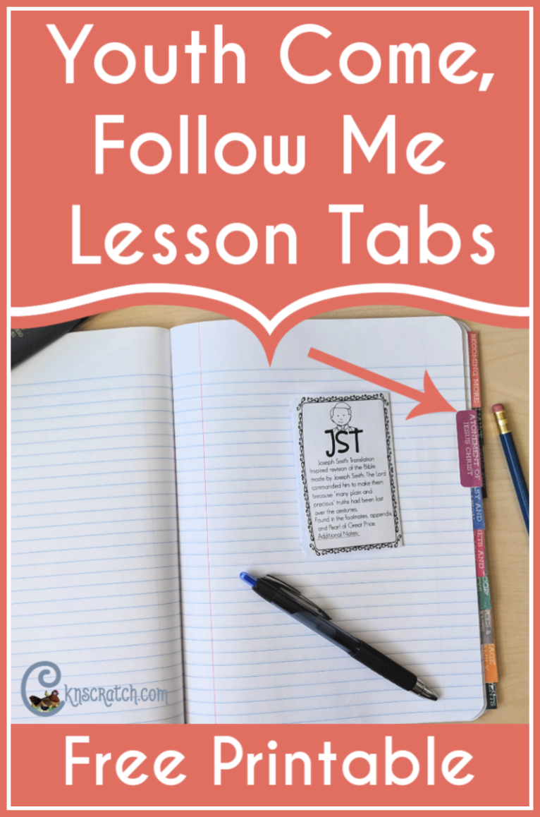 These are a great idea! Tabs to glue into a notebook for all the YW/YM Come Follow Me lessons