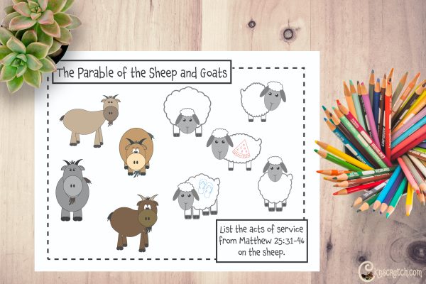 Fun worksheet to discuss the parable of the sheep and goats #teachlikeachicken #LDS #ComeFollowMe