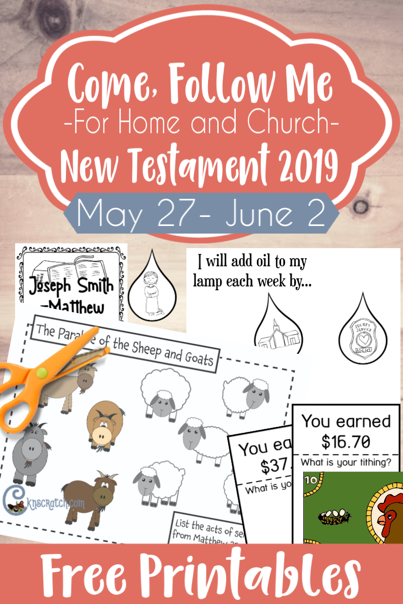 "So many great free handouts and ideas to study Joseph Smith- Matthew and more ""The Son of Man Shall Come""- parable of the sheep and goats, 10 virgins, story of the widow's mite and more! #teachlikeachicken #LDS #ComeFollowMe #NewTestament"