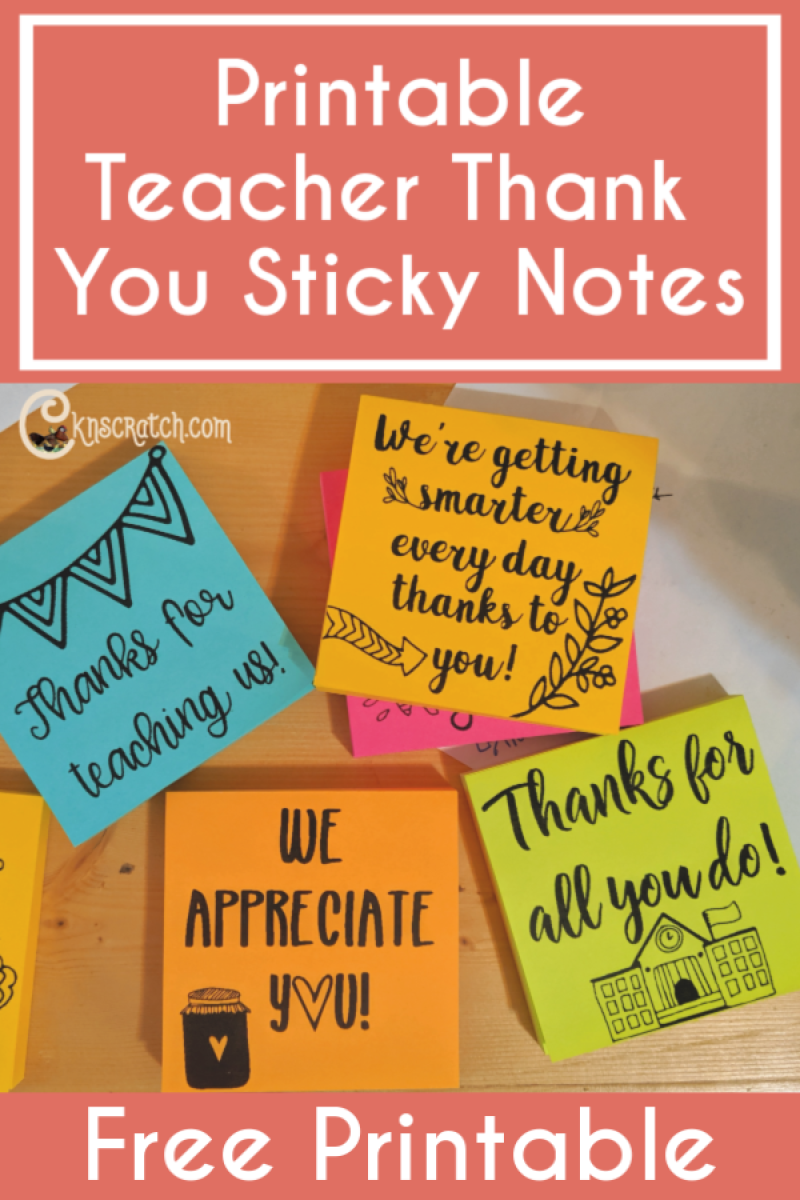 Love these teacher thank you sticky notes! What a great idea- print on the top and give them a pack! #teachlikeachicken #teachergift #freeprintable