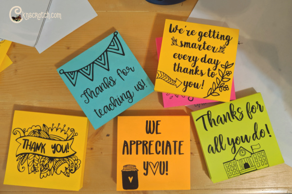 What a fun idea! Print a thank you note for your teacher on a sticky note then give them the whole pad! #teachlikeachicken #teachergift #thankyou