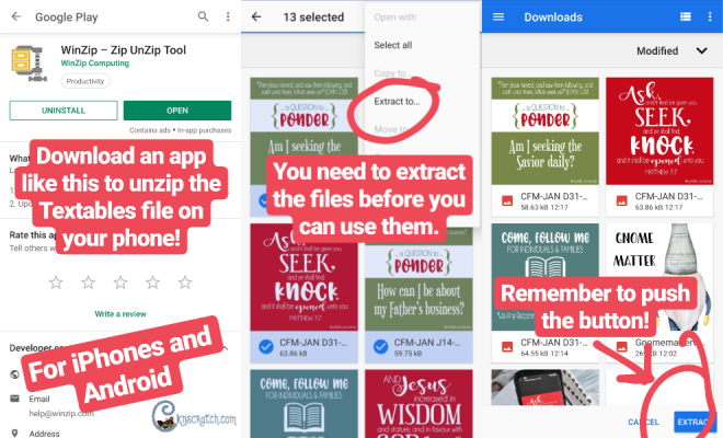 How to extract zip files on your phone- great to know as you download the Come Follow Me monthly textables  #teachlikeachicken #LDS #ComeFollowMe