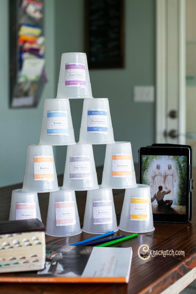 Love these free printables and ideas to talk about the restoration of the gospel of Jesus Christ (the cup lesson) #teachlikeachicken #ComeFollowMe #LDS