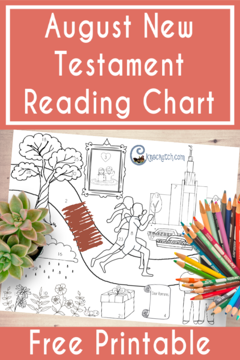 August's New Testament reading chart to help your kids study the scriptures on their own. The images match what we're reading using the Come Follow Me manual in August. #teachlikeachicken #LDS #ComeFollowMe