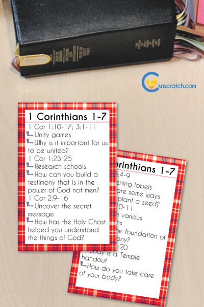 """Activity Cards to help you study 1 Corinthians 1-7 """"Be Perfectly Joined Together"""" #teachlikeachicken #LDS #ComeFollowMe"""