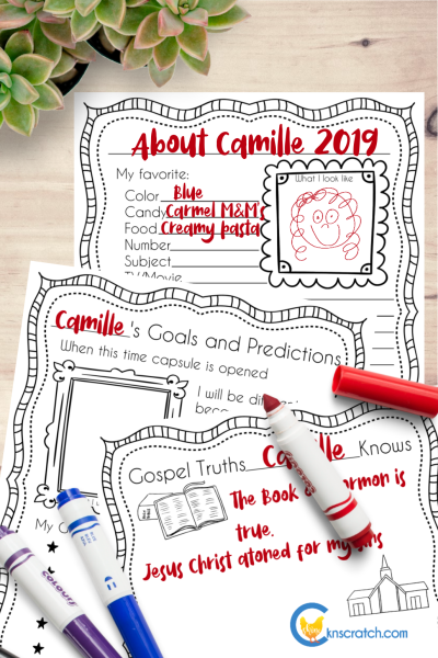 Time Capsule printables to discuss testimony and the gift of prophecy #teachlikeachicken #LDS #ComeFollowMe