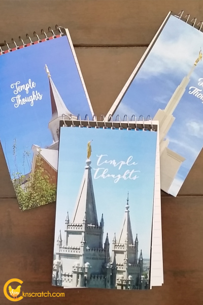 Temple thoughts notebooks- so easy to make and such a great idea to use! Would be great for the 11-year olds! #teachlikeachicken #LDS #ComeFollowMe