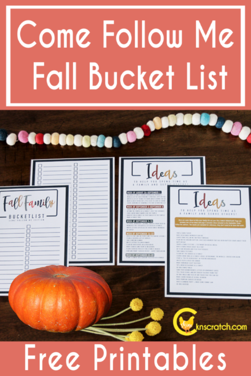 Love this! Fall bucket list that include ideas for Come Follow Me- fun and gospel learning!! #teachlikeachicken #LDS #ComeFollowMe