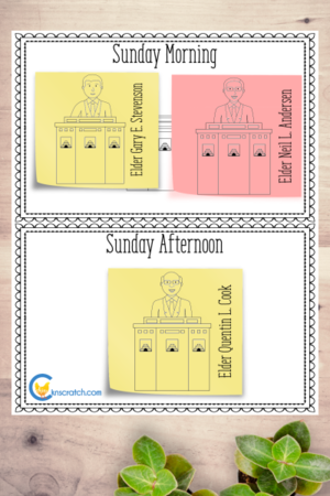 Love these General Conference session sheets to use with the apostle sticky notes. Neat way to add some fun. #teachlikeachicken #LDS #GeneralConference