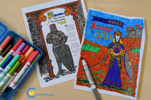 Great coloring pages to use as you discuss putting on the whole armour of God #teachlikeachicken #LDS #ComeFollowMe