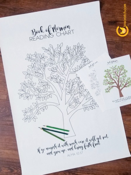 Awesome Book of Mormon reading chart! I love how you color in a leaf for each chapter. Hang it on your wall or glue it in your journal. #teachlikeachicken #BookofMormon #LDS