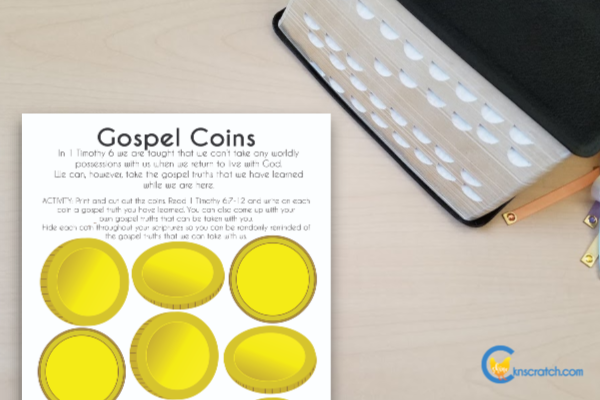Hide gospel coins in your scriptures so you can remember how profitable they can be- goes with Come Follow Me 1 and 2 Timothy (October 28- November 3) #teachlikeachicken #ComeFollowMe #LatterdaySaints