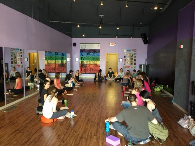 Training yoga instructors to use trauma-informed practices at Yoga Sol in Minneapolis, May 3, 2015.