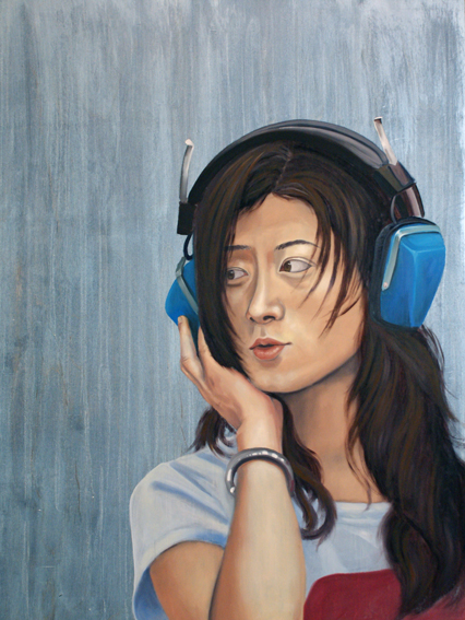 "Teal Headphones, 36 "" x 24 "", oil and acrylic on wood, 2012"