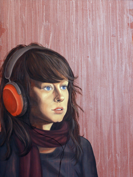 "Orange Headphones, 36 "" x 24 "", oil and acrylic on wood, 2012"