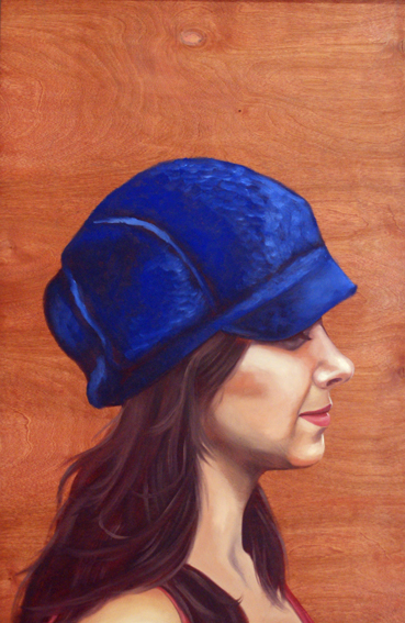 "Hat Profile #1 , 24 "" x 18 "", oil and acrylic on wood, 2012"