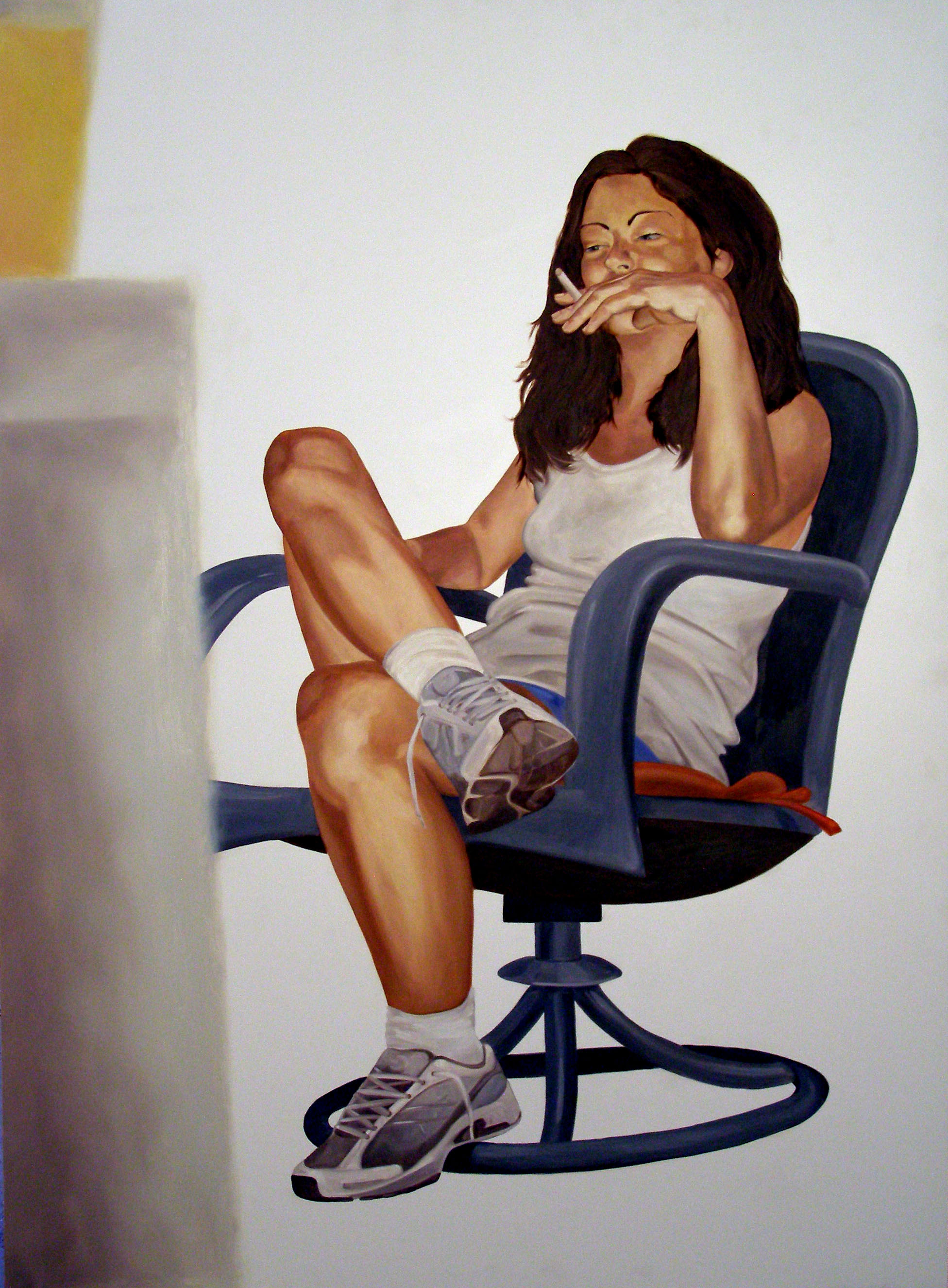 """Alone Together: September 28th, 10:23pm, 46""""x 34"""", oil on laminate, 2007"""