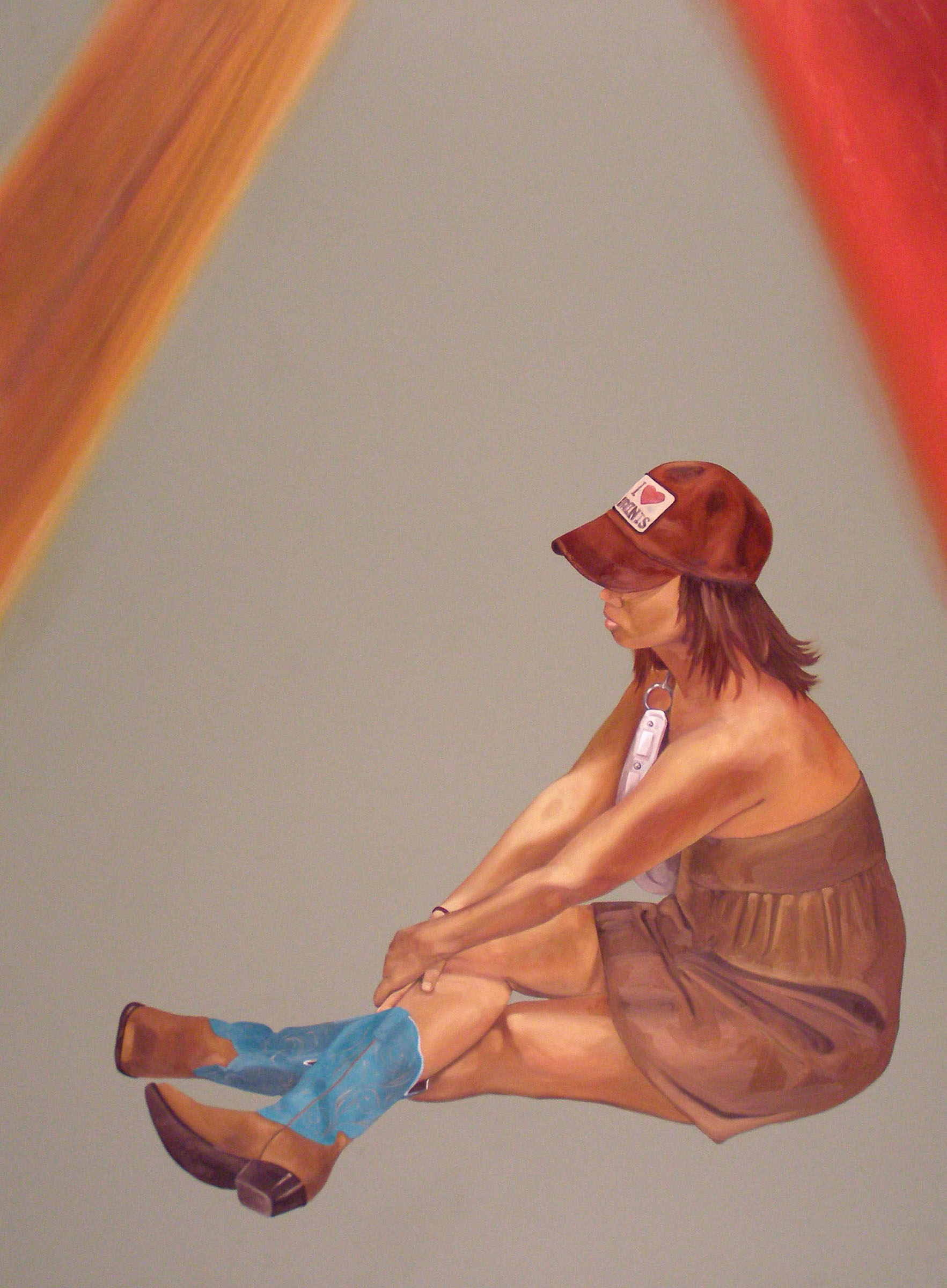 """Alone Together: September 16th, 8:10pm , 46""""x 34"""", oil on laminate, 2007"""