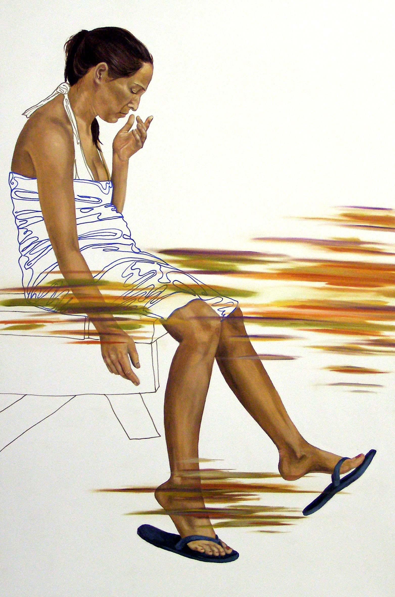 """July 12th, 5:47pm, 24""""x 16"""", oil on laminate, 2008"""