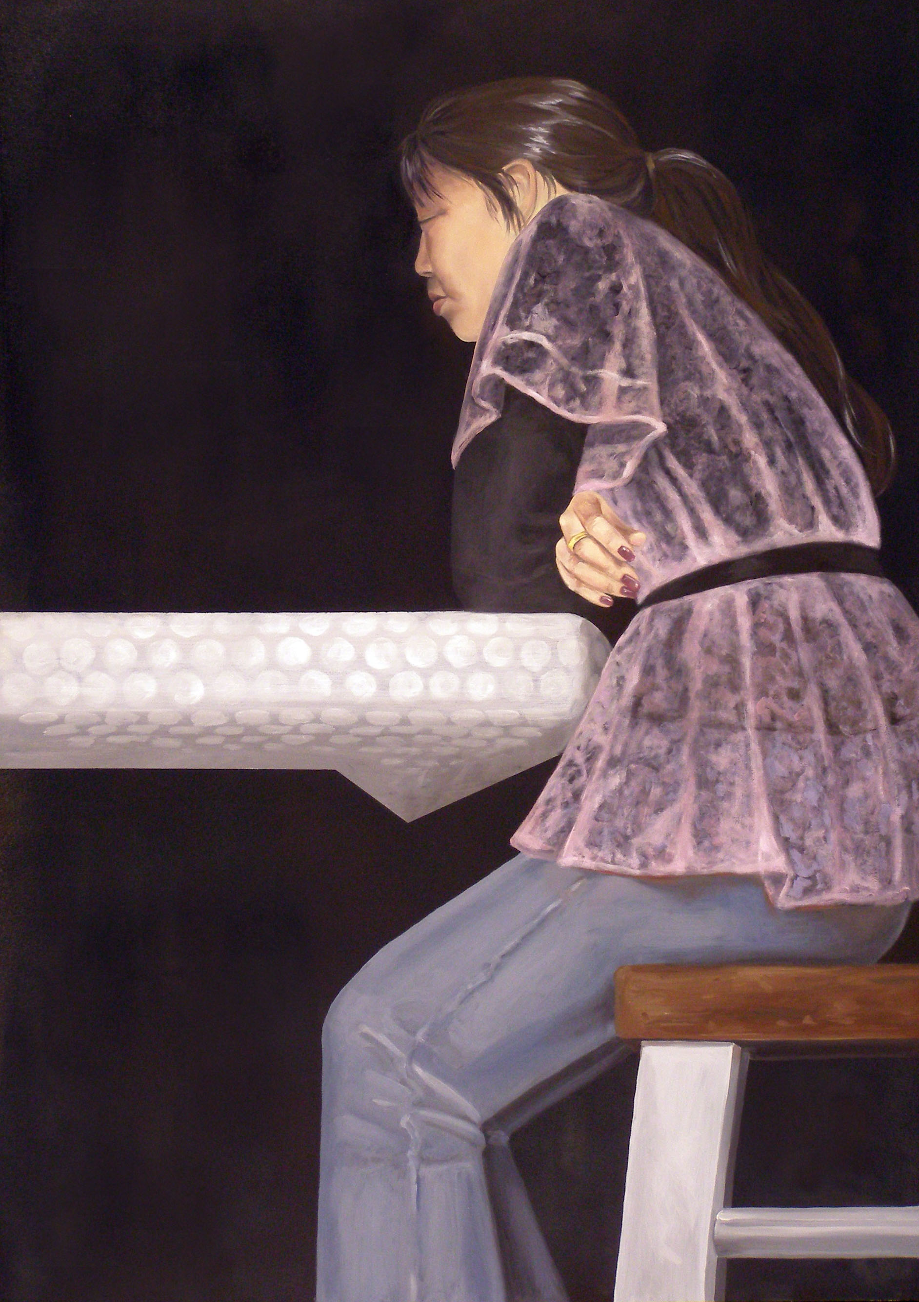 """Alone Together: Pink Lace , 38 """"x 26 """", oil on panel, 2007"""