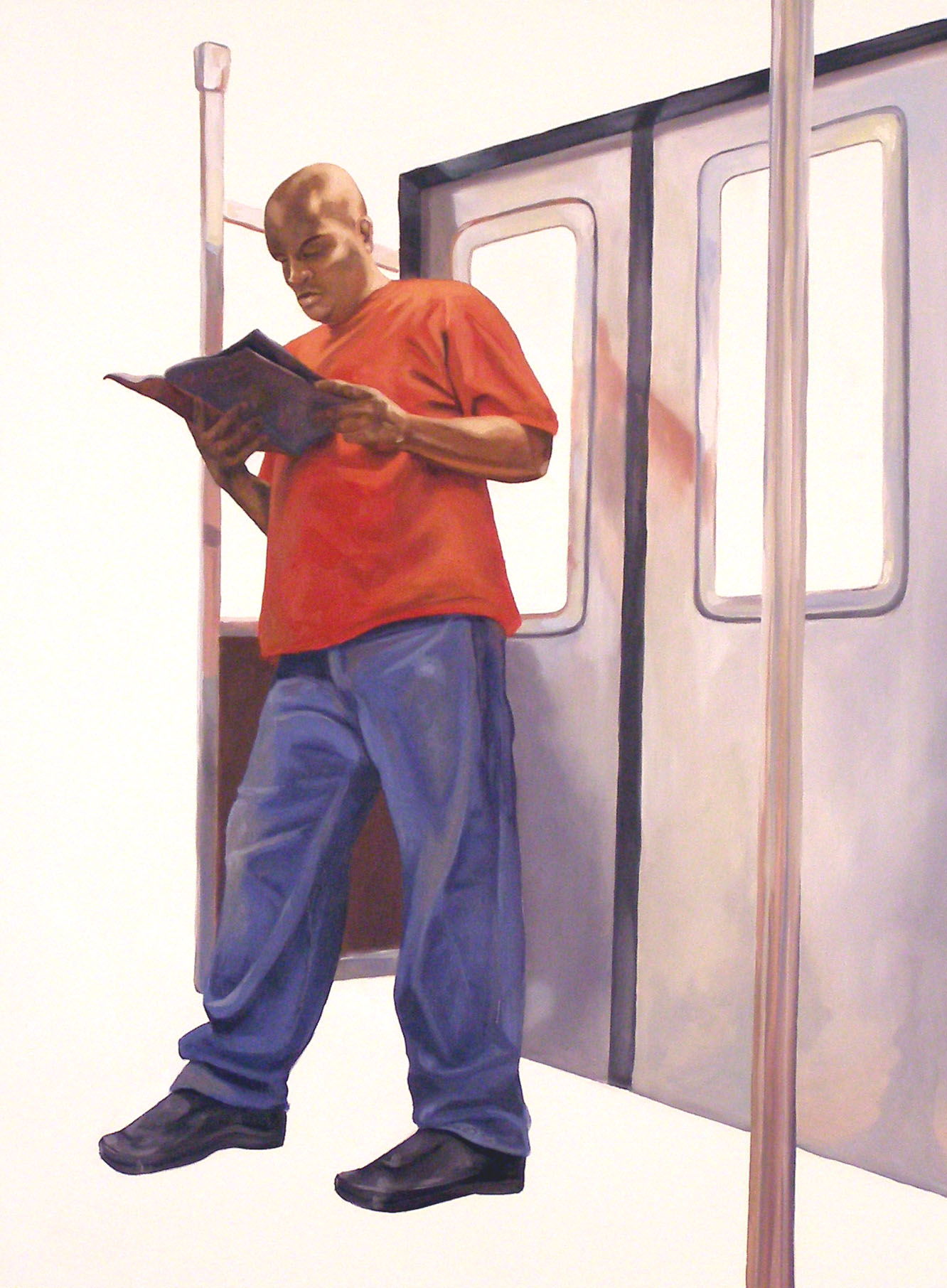 """Alone Together: Man on Subway, 24 """"x 18 """", oil on panel, 2007"""