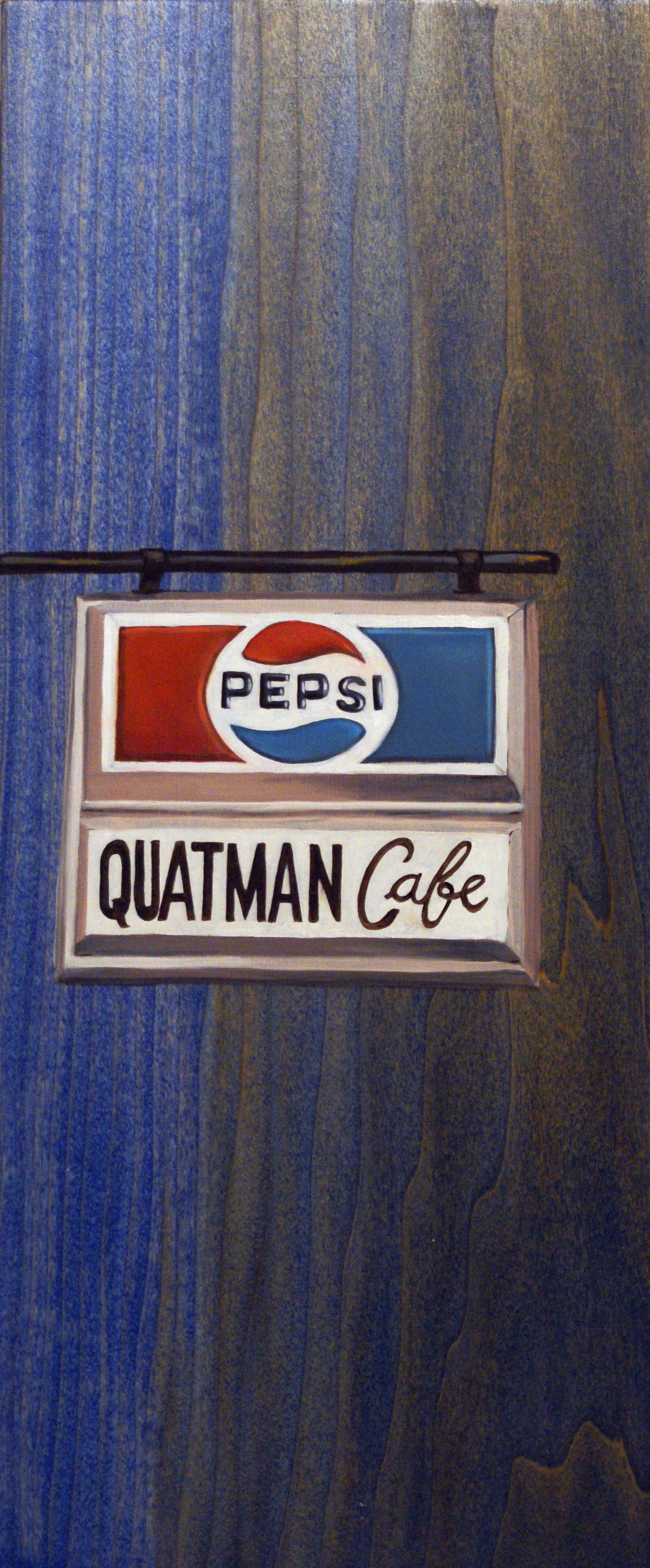 """Quatman's, 18"""" x 8"""", oil and acrylic on wood, 2011"""
