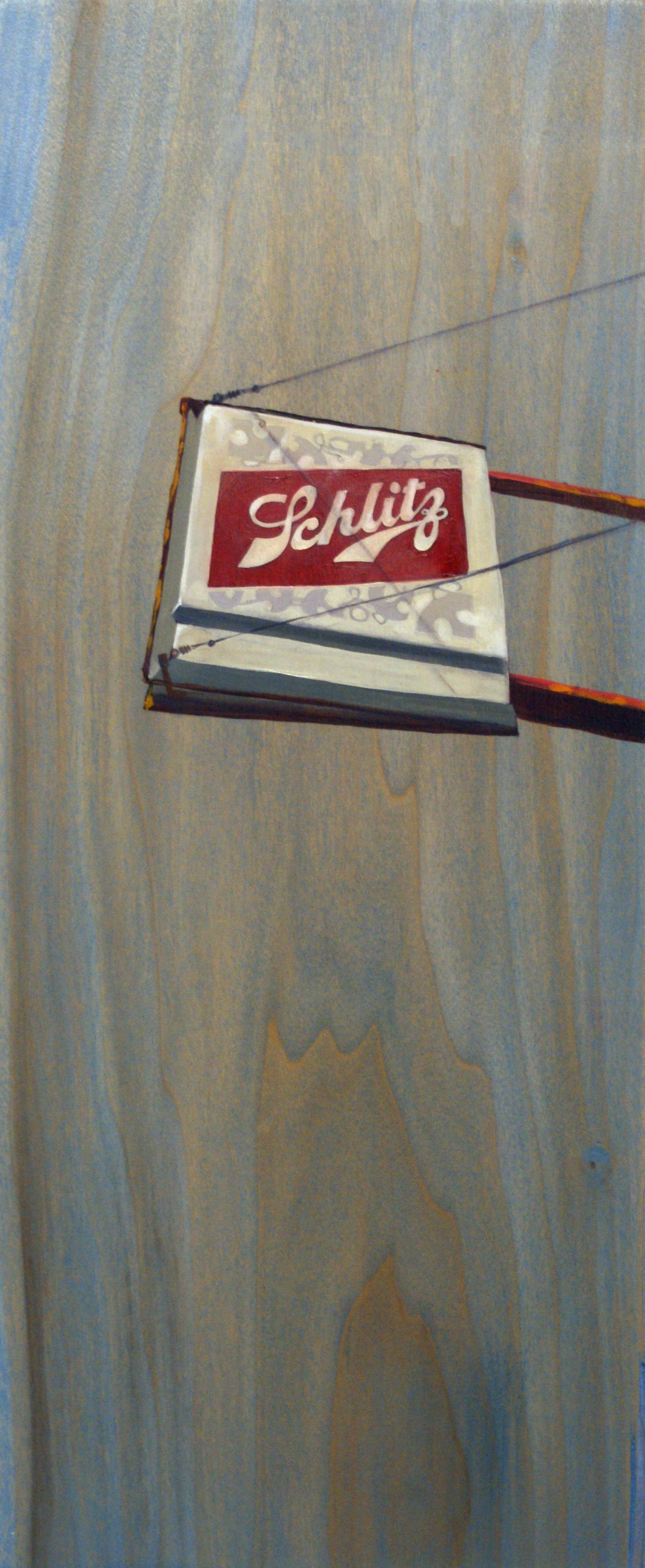 """Schlitz, 18"""" x 8"""", oil and acrylic on wood, 2011"""